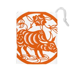 Chinese Zodiac Cow Star Orange Drawstring Pouches (Large)