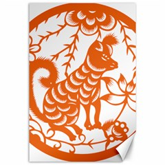 Chinese Zodiac Dog Star Orange Canvas 24  x 36