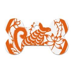 Chinese Zodiac Dog Star Orange Dog Tag Bone (Two Sides)