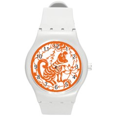 Chinese Zodiac Dog Star Orange Round Plastic Sport Watch (M)