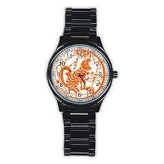 Chinese Zodiac Dog Star Orange Stainless Steel Round Watch