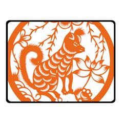 Chinese Zodiac Dog Star Orange Double Sided Fleece Blanket (Small)