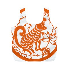 Chinese Zodiac Dog Star Orange Full Print Recycle Bags (M)