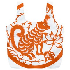 Chinese Zodiac Dog Star Orange Full Print Recycle Bags (L)