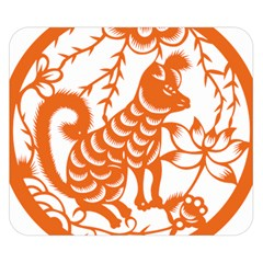 Chinese Zodiac Dog Star Orange Double Sided Flano Blanket (Small)