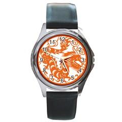 Chinese Zodiac Dragon Star Orange Round Metal Watch