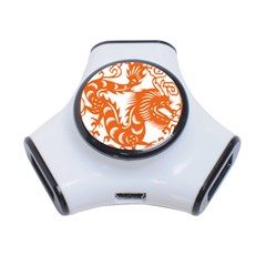 Chinese Zodiac Dragon Star Orange 3-Port USB Hub
