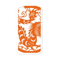 Chinese Zodiac Dragon Star Orange Apple iPhone 4 Case (White)