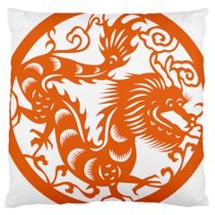 Chinese Zodiac Dragon Star Orange Large Cushion Case (One Side)