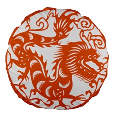 Chinese Zodiac Dragon Star Orange Large 18  Premium Round Cushions
