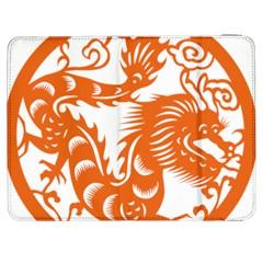 Chinese Zodiac Dragon Star Orange Samsung Galaxy Tab 7  P1000 Flip Case