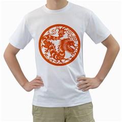Chinese Zodiac Dragon Star Orange Men s T Shirt (white)