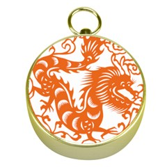Chinese Zodiac Dragon Star Orange Gold Compasses
