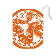 Chinese Zodiac Dragon Star Orange Drawstring Pouches (Large)