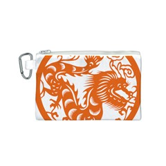 Chinese Zodiac Dragon Star Orange Canvas Cosmetic Bag (S)