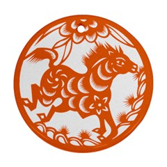 Chinese Zodiac Horoscope Horse Zhorse Star Orangeicon Round Ornament (Two Sides)