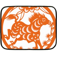 Chinese Zodiac Horoscope Horse Zhorse Star Orangeicon Double Sided Fleece Blanket (Mini)