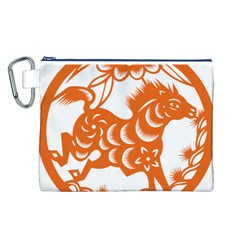 Chinese Zodiac Horoscope Horse Zhorse Star Orangeicon Canvas Cosmetic Bag (L)
