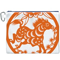 Chinese Zodiac Horoscope Horse Zhorse Star Orangeicon Canvas Cosmetic Bag (XXXL)