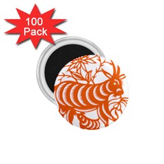 Chinese Zodiac Goat Star Orange 1.75  Magnets (100 pack)