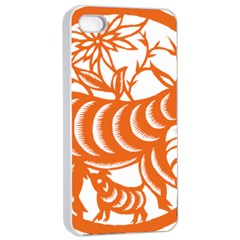 Chinese Zodiac Goat Star Orange Apple iPhone 4/4s Seamless Case (White)