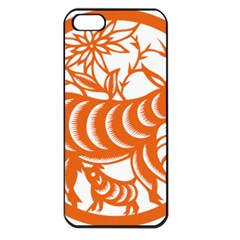 Chinese Zodiac Goat Star Orange Apple iPhone 5 Seamless Case (Black)