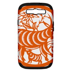 Chinese Zodiac Goat Star Orange Samsung Galaxy S III Hardshell Case (PC+Silicone)