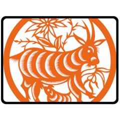 Chinese Zodiac Goat Star Orange Double Sided Fleece Blanket (large)