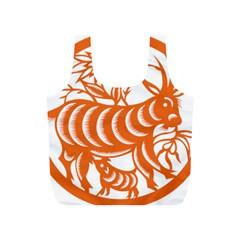 Chinese Zodiac Goat Star Orange Full Print Recycle Bags (S)