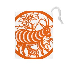 Chinese Zodiac Goat Star Orange Drawstring Pouches (Large)