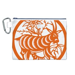 Chinese Zodiac Goat Star Orange Canvas Cosmetic Bag (L)