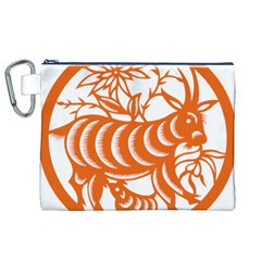 Chinese Zodiac Goat Star Orange Canvas Cosmetic Bag (XL)