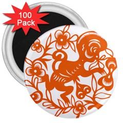 Chinese Zodiac Horoscope Monkey Star Orange 3  Magnets (100 pack)