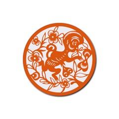 Chinese Zodiac Horoscope Monkey Star Orange Rubber Coaster (Round)