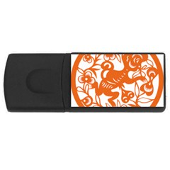 Chinese Zodiac Horoscope Monkey Star Orange USB Flash Drive Rectangular (2 GB)