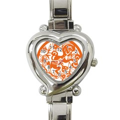 Chinese Zodiac Horoscope Monkey Star Orange Heart Italian Charm Watch