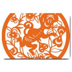 Chinese Zodiac Horoscope Monkey Star Orange Large Doormat