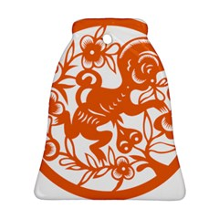 Chinese Zodiac Horoscope Monkey Star Orange Bell Ornament (Two Sides)