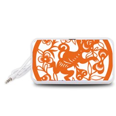 Chinese Zodiac Horoscope Monkey Star Orange Portable Speaker (White)