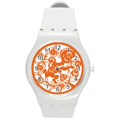 Chinese Zodiac Horoscope Monkey Star Orange Round Plastic Sport Watch (M)