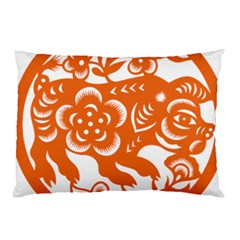 Chinese Zodiac Horoscope Pig Star Orange Pillow Case (Two Sides)