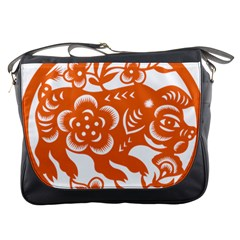 Chinese Zodiac Horoscope Pig Star Orange Messenger Bags