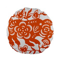 Chinese Zodiac Horoscope Pig Star Orange Standard 15  Premium Round Cushions
