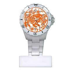 Chinese Zodiac Horoscope Pig Star Orange Plastic Nurses Watch