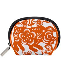 Chinese Zodiac Horoscope Pig Star Orange Accessory Pouches (Small)