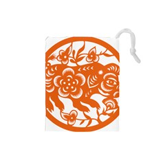 Chinese Zodiac Horoscope Pig Star Orange Drawstring Pouches (Small)