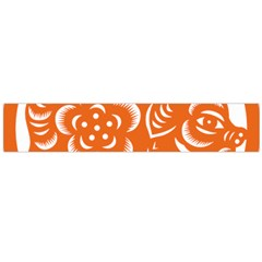 Chinese Zodiac Horoscope Pig Star Orange Flano Scarf (Large)