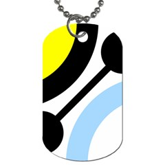Circle Line Chevron Wave Black Blue Yellow Gray White Dog Tag (One Side)