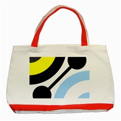 Circle Line Chevron Wave Black Blue Yellow Gray White Classic Tote Bag (Red)