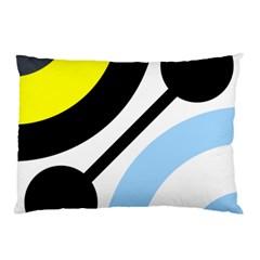 Circle Line Chevron Wave Black Blue Yellow Gray White Pillow Case